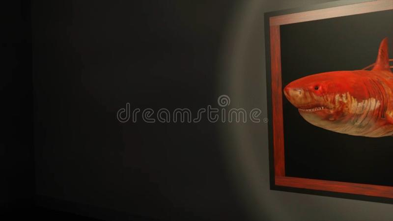 Αφηρημένη τρισδιάστατη ζωτικότητα με τον κόκκινο καρχαρία που κολυμπά από τη μαύρη ζωγραφική με ένα πλαίσιο Επικίνδυνο κόκκινο ολ διανυσματική απεικόνιση