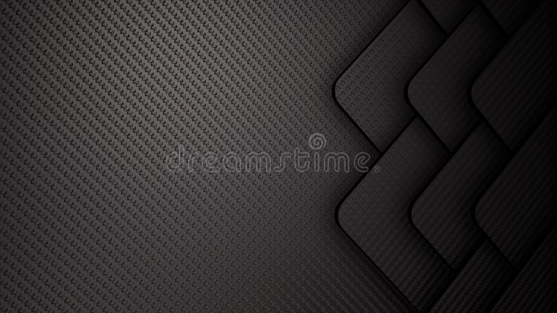 Αφηρημένη τρισδιάστατη μαύρη απεικόνιση ινών άνθρακα διανυσματική απεικόνιση