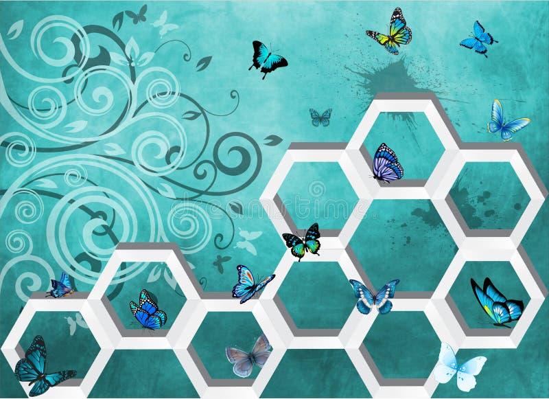 Αφηρημένη τρισδιάστατη μπλε πεταλούδα τέχνης τοίχων ελεύθερη απεικόνιση δικαιώματος