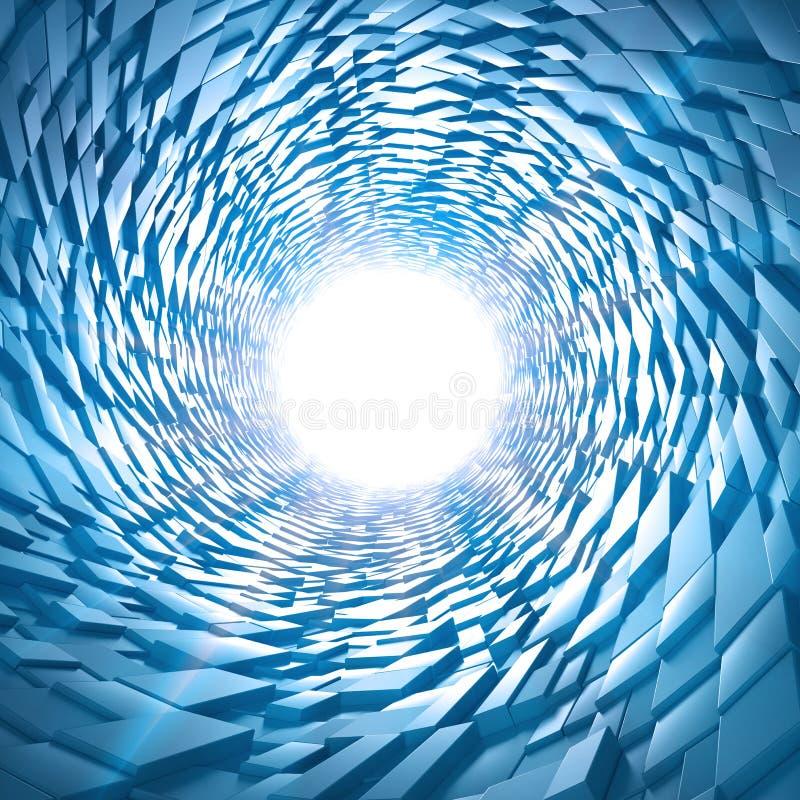 Αφηρημένη τρισδιάστατη σήραγγα sci-Fi διανυσματική απεικόνιση