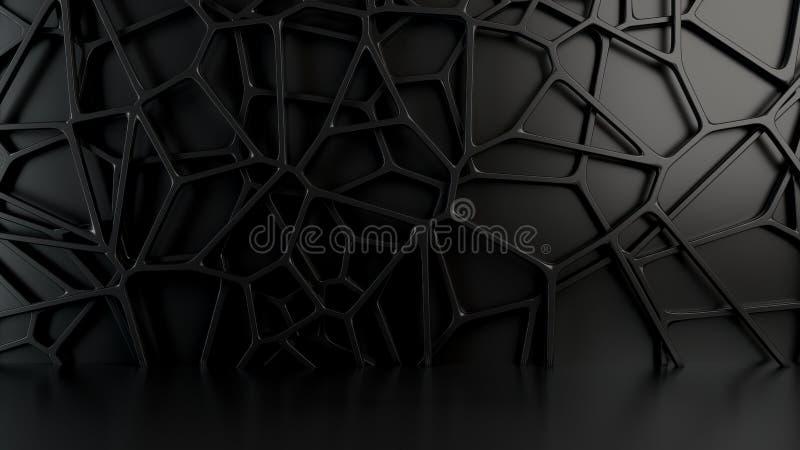 Αφηρημένη τρισδιάστατη σχάρα στο μαύρο υπόβαθρο στοκ φωτογραφία