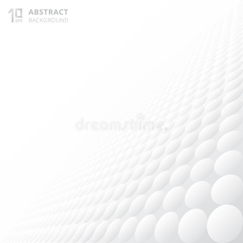 Αφηρημένη τρισδιάστατη σύσταση σχεδίων κύκλων που επαναλαμβάνει το λευκό κλίσης και απεικόνιση αποθεμάτων
