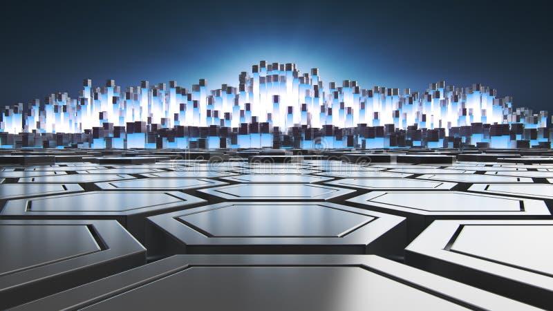Αφηρημένη τρισδιάστατη απόδοση της φουτουριστικής επιφάνειας με hexagons Ραδιενεργά στοιχεία αντιδραστήρων Υπόβαθρο sci-Fi απεικόνιση αποθεμάτων