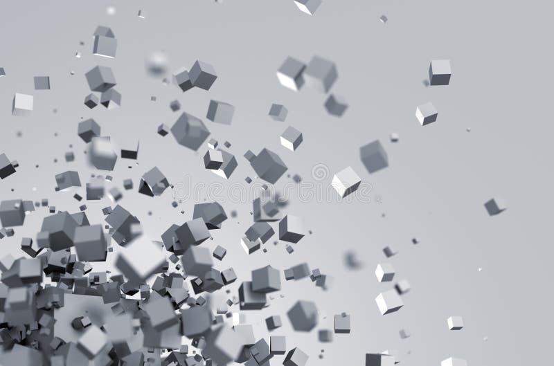 Αφηρημένη τρισδιάστατη απόδοση των πετώντας κύβων διανυσματική απεικόνιση