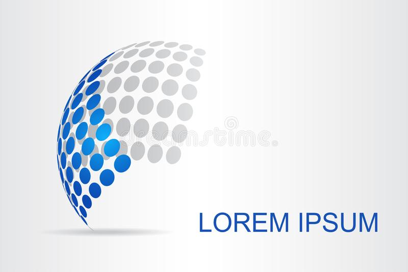 Αφηρημένη τυποποιημένη σφαιρική επιφάνεια λογότυπων τεχνολογίας με τις αφηρημένες μορφές στοκ φωτογραφία