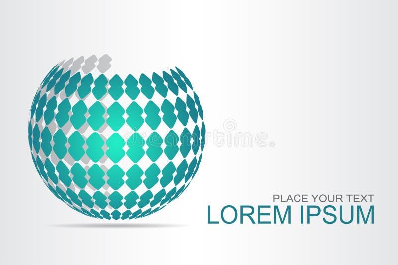 Αφηρημένη τυποποιημένη σφαιρική επιφάνεια λογότυπων τεχνολογίας με τις αφηρημένες μορφές στοκ εικόνες με δικαίωμα ελεύθερης χρήσης