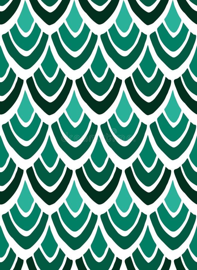 Αφηρημένη τυπωμένη ύλη των τυποποιημένων φτερών στα πράσινα χρώματα σε ένα άσπρο υπόβαθρο ελεύθερη απεικόνιση δικαιώματος