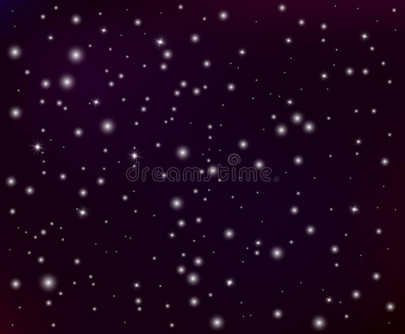 Αφηρημένη τυχαία καμμένος αστρική διανυσματική διαστημική απεικόνιση σκόνης του νυχτερινού ουρανού, φως από τα αστέρια απεικόνιση αποθεμάτων