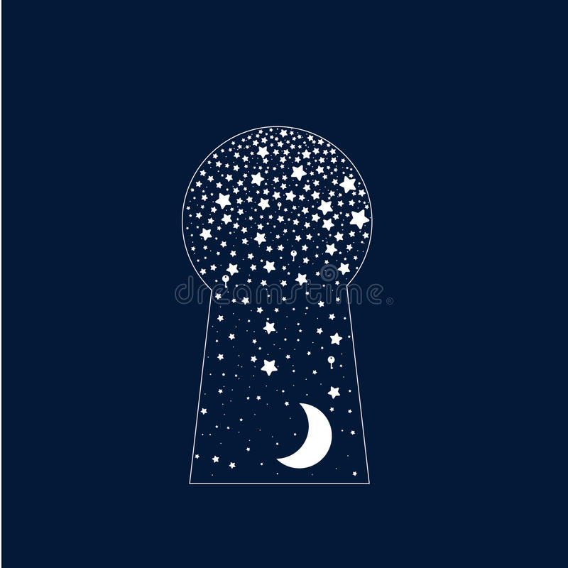 Αφηρημένη υπερφυσική κλειδαριά πορτών αστέρια φεγγαριών απεικόνιση αποθεμάτων