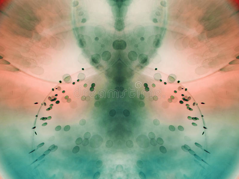 Αφηρημένη, υποβρύχια, ζωηρόχρωμη σύνθεση με τις φυσαλίδες στοκ εικόνα