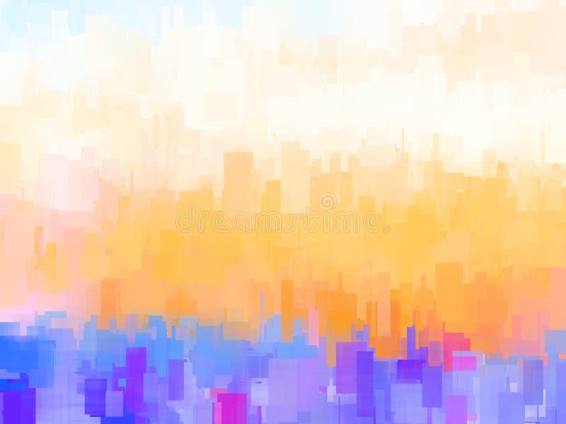 Αφηρημένη υπόβαθρο ή σύσταση με τα γεωμετρικά αντικείμενα στα μαλακά χρώματα κρητιδογραφιών διανυσματική απεικόνιση