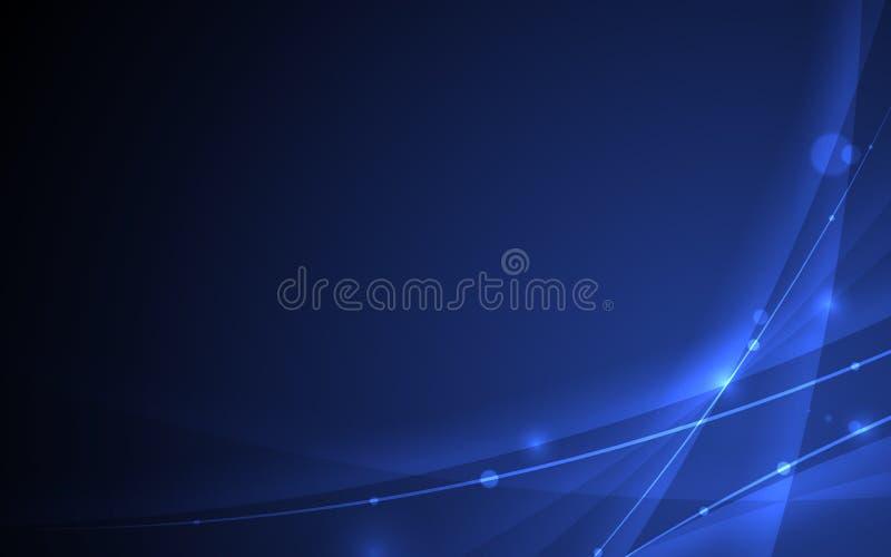 Αφηρημένη φουτουριστική καμπύλη γραμμών στο μαύρο μπλε υπόβαθρο ελεύθερη απεικόνιση δικαιώματος