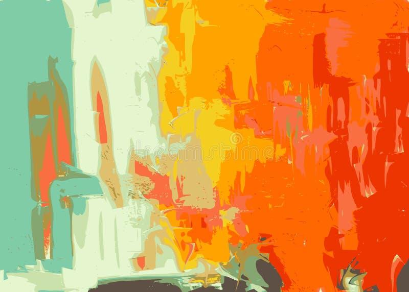 Αφηρημένη ψηφιακή ζωηρόχρωμη συρμένη χέρι σύνθεση τέχνης ελεύθερη απεικόνιση δικαιώματος
