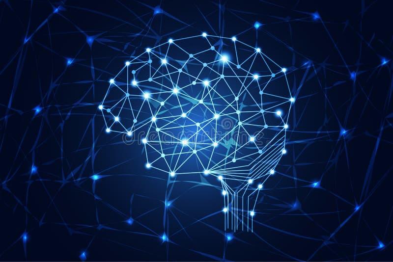 Αφηρημένη ψηφιακή σύνδεση εγκεφάλου έννοιας επιστήμης τεχνολογίας γεια tec διανυσματική απεικόνιση