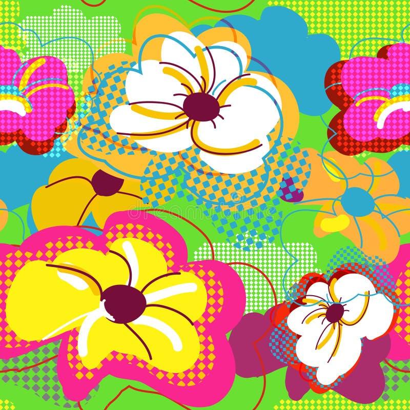 αφηρημένη floral άνευ ραφής σύστα&si διανυσματική απεικόνιση