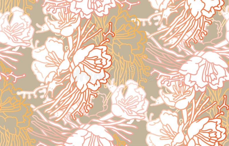 Αφηρημένη floral ανασκόπηση Έργο τέχνης Vecor των λουλουδιών Απομονωμένο έργο τέχνης απεικόνιση αποθεμάτων