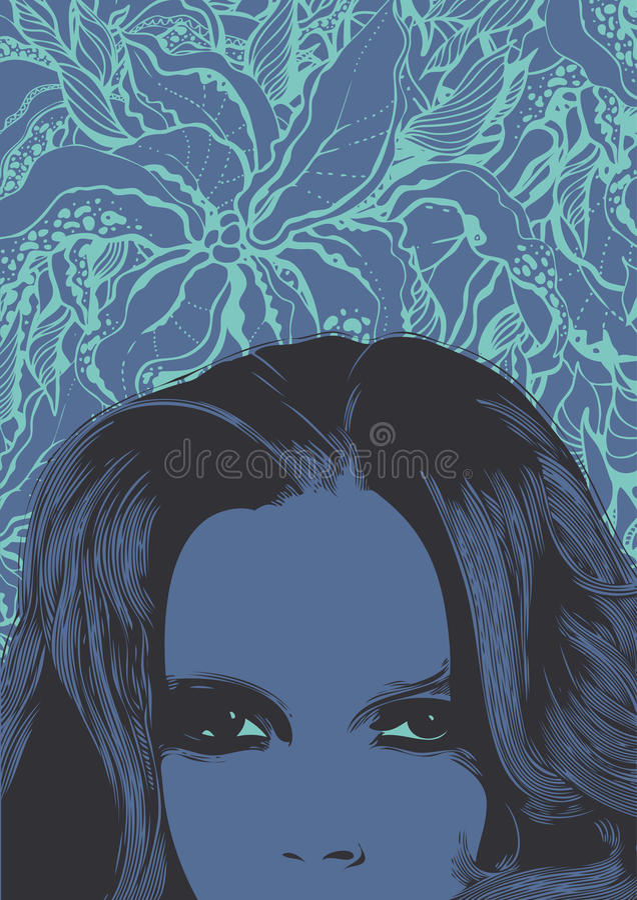 αφηρημένη floral γυναίκα προσώπ&omicron ελεύθερη απεικόνιση δικαιώματος