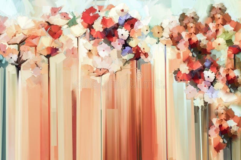 Αφηρημένη floral ζωγραφική ελαιοχρώματος απεικόνιση αποθεμάτων