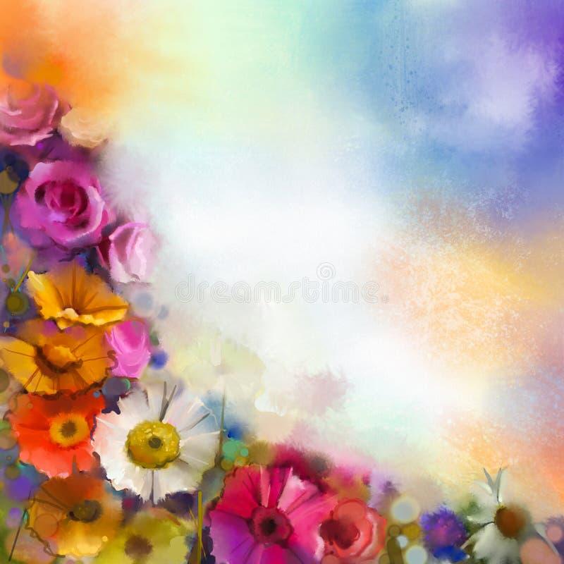 Αφηρημένη floral ζωγραφική watercolor Το άσπρο, κίτρινο, ρόδινο και κόκκινο χρώμα χρωμάτων χεριών του gerbera μαργαριτών και αυξή διανυσματική απεικόνιση