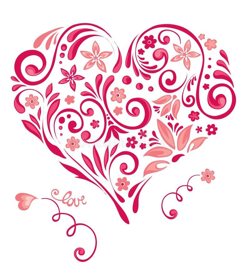 αφηρημένη floral καρδιά ελεύθερη απεικόνιση δικαιώματος