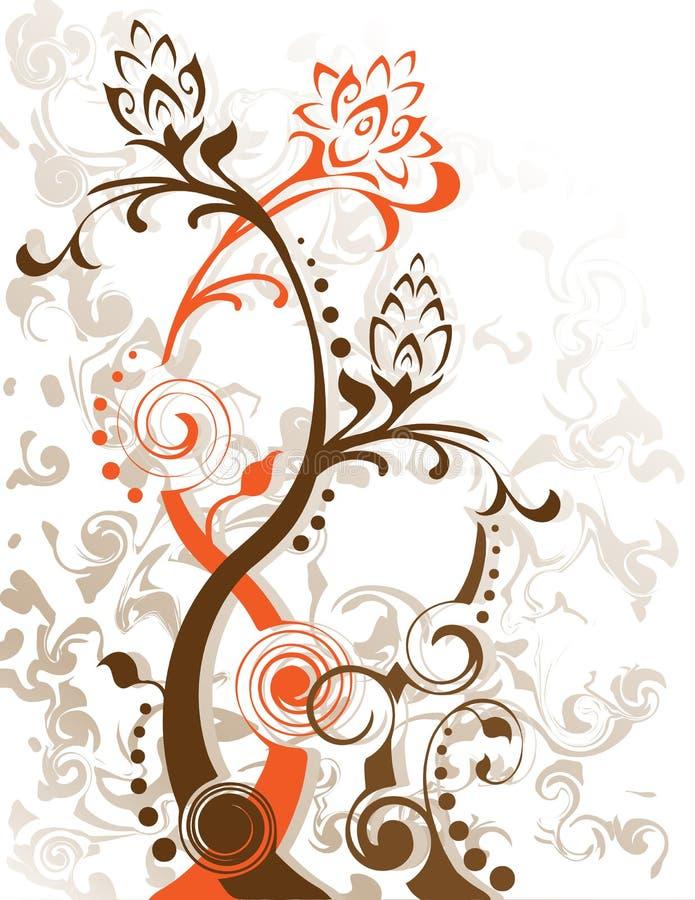 αφηρημένη floral σκιαγραφία φύλλων λουλουδιών μοναδική ελεύθερη απεικόνιση δικαιώματος
