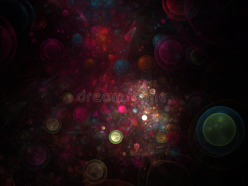 Αφηρημένη fractal δομή που αποτελείται από τις φωτεινές σφαίρες ή τις φυσαλίδες Υπόβαθρο κομψότητας - fractal ράστερ τρισδιάστατη ελεύθερη απεικόνιση δικαιώματος