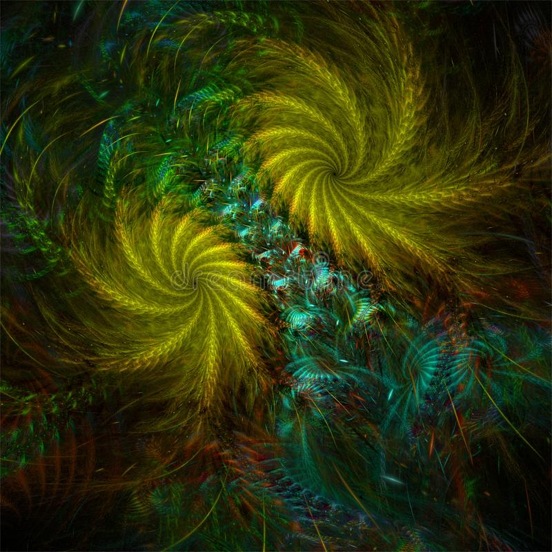 Αφηρημένη fractal ζωηρόχρωμη πράσινη δασική βλάστηση τέχνης ελεύθερη απεικόνιση δικαιώματος