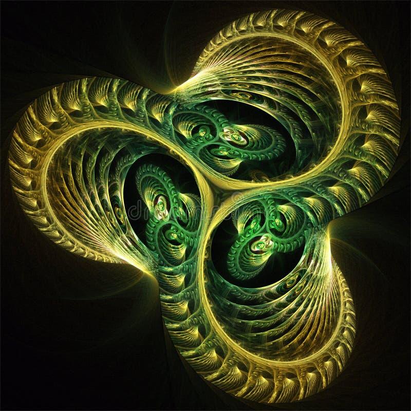 Αφηρημένη fractal φουτουριστική τριπλή πράσινη ρόδα τέχνης διανυσματική απεικόνιση