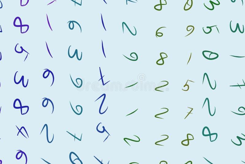 Αφηρημένοι αριθμοί υποβάθρου, χέρι που σύρεται για το σχέδιο, γραφικός πόρος Απεικόνιση, διακόσμηση, ψηφιακός & σχέδιο διανυσματική απεικόνιση
