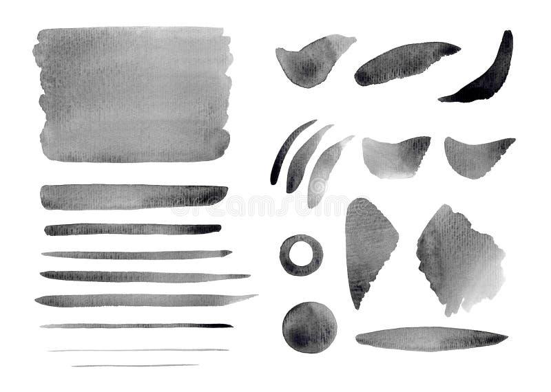 Αφηρημένοι γκρίζοι παφλασμοί Watercolor, υπόβαθρο, cirkle, κτυπήματα, γραμμές καθορισμένες απεικόνιση αποθεμάτων
