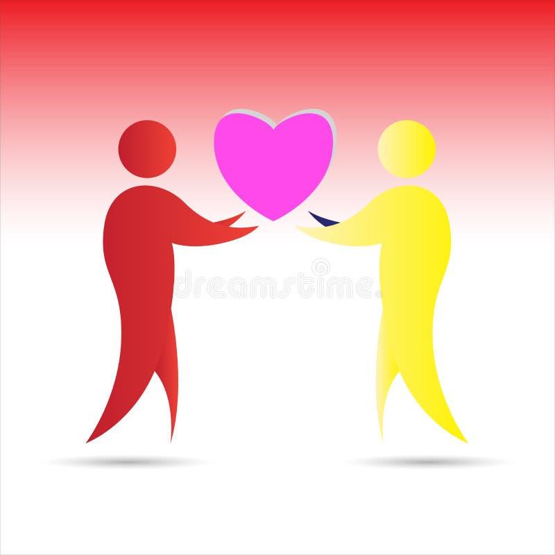 Αφηρημένοι ζωηρόχρωμοι άνθρωποι και εικονίδιο καρδιών απεικόνιση αποθεμάτων