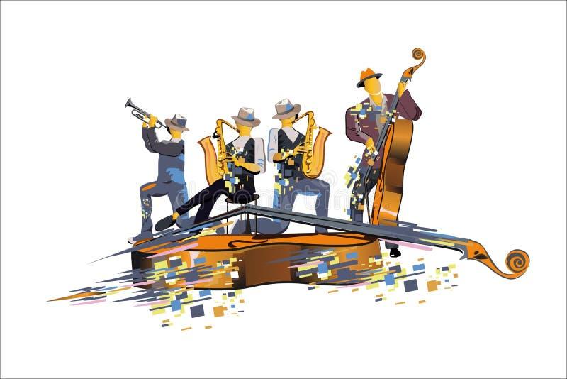 Αφηρημένοι ζωηρόχρωμοι μουσικοί στο κόμμα Ζώνη της Jazz ελεύθερη απεικόνιση δικαιώματος