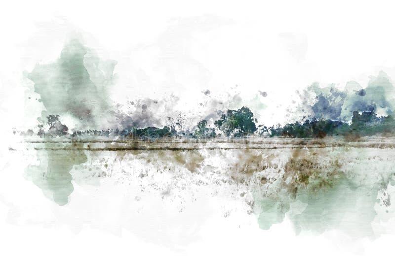 Αφηρημένοι ζωηρόχρωμοι τοπίο και τομέας δέντρων στο υπόβαθρο χρωμάτων απεικόνισης watercolor ελεύθερη απεικόνιση δικαιώματος