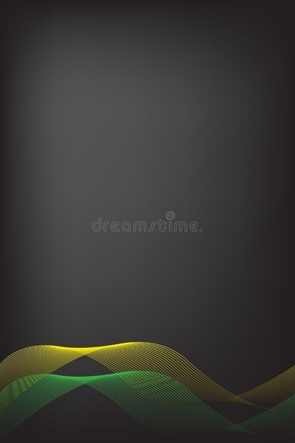 Αφηρημένοι κίτρινος και Πράσινη Γραμμή με το μαύρο υπόβαθρο θαμπάδων Σχέδιο φυλλάδιων, διανυσματική γραφική απεικόνιση προτύπων π απεικόνιση αποθεμάτων