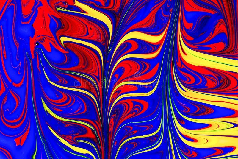 Αφηρημένοι κόκκινοι, κίτρινοι και μπλε στρόβιλοι χρωμάτων ελεύθερη απεικόνιση δικαιώματος