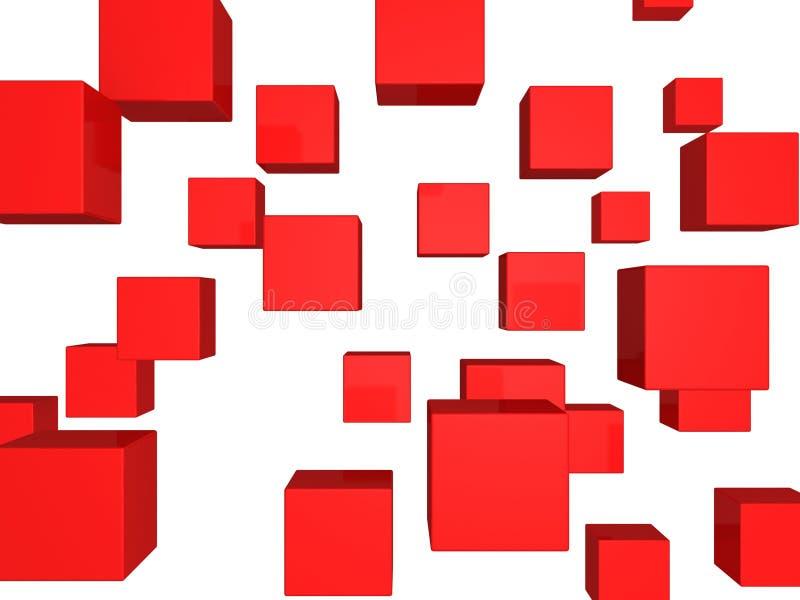 αφηρημένοι κύβοι ανασκόπησης που πετούν το κόκκινο απεικόνιση αποθεμάτων