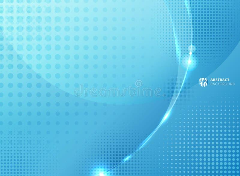 Αφηρημένοι κύκλοι και ημίτονος με την επίδραση φωτισμού στο μπλε backg ελεύθερη απεικόνιση δικαιώματος