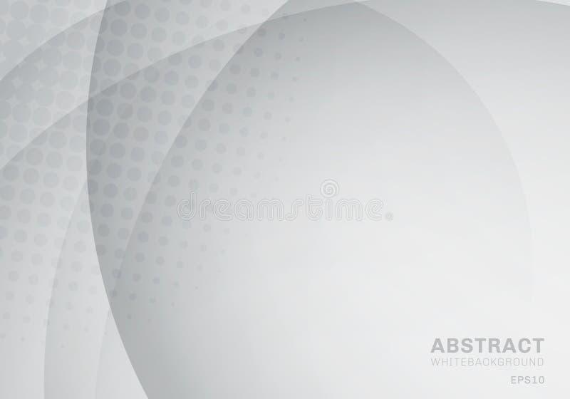 Αφηρημένοι κύκλος και καμπύλη με το ημίτονο άσπρο και γκρίζο υπόβαθρο σύστασης διανυσματική απεικόνιση
