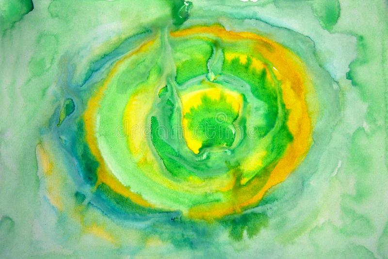 Αφηρημένοι λεκέδες watercolor του κίτρινου και πράσινου χρώματος Θαμπάδα χρώματος σε χαρτί στοκ εικόνα