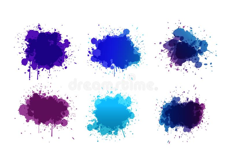 Αφηρημένοι παφλασμοί χρωμάτων που τίθενται για τη χρήση σχεδίου Σύνολο προτύπων Splatter Διανυσματική απεικόνιση Grunge διανυσματική απεικόνιση