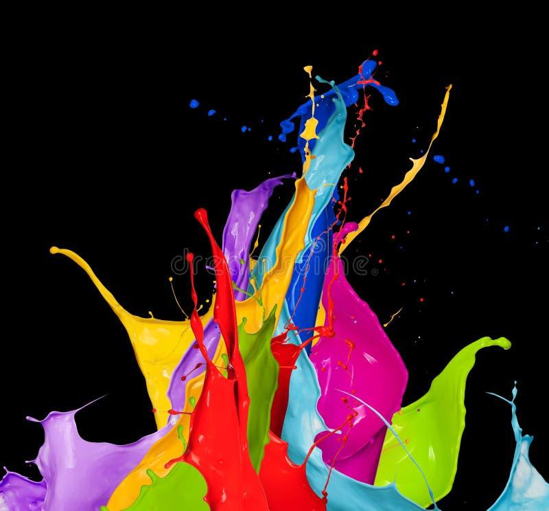 Αφηρημένοι παφλασμοί χρώματος στο μαύρο υπόβαθρο ελεύθερη απεικόνιση δικαιώματος