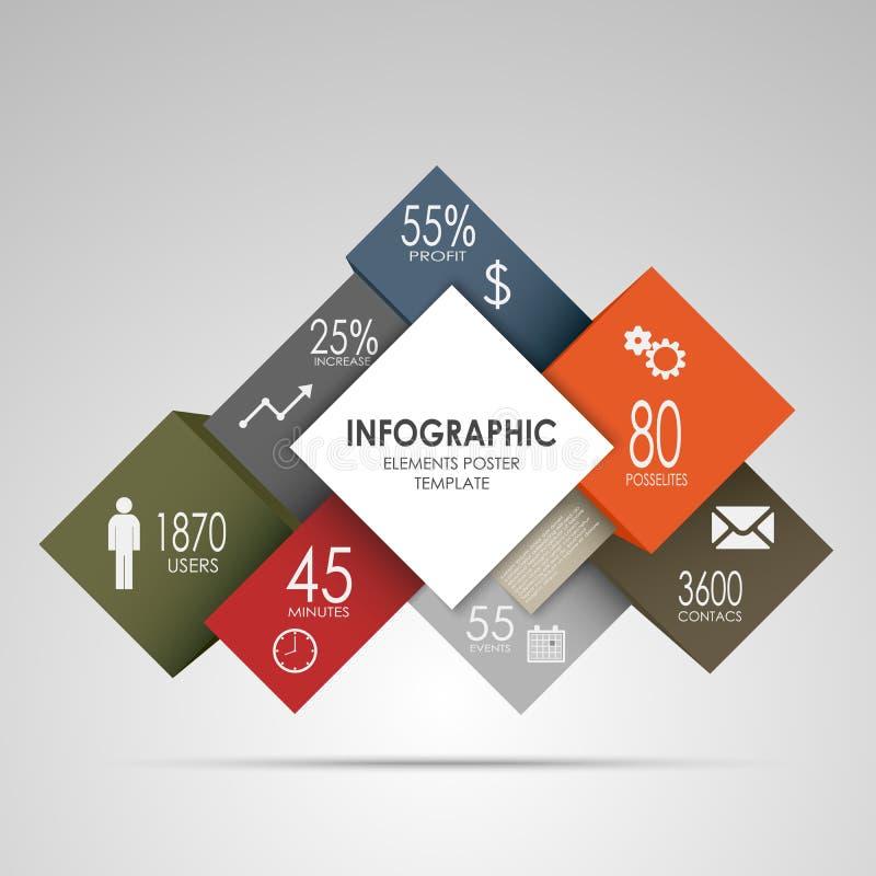 Αφηρημένοι τετράγωνα και κύβοι infographic διανυσματική απεικόνιση