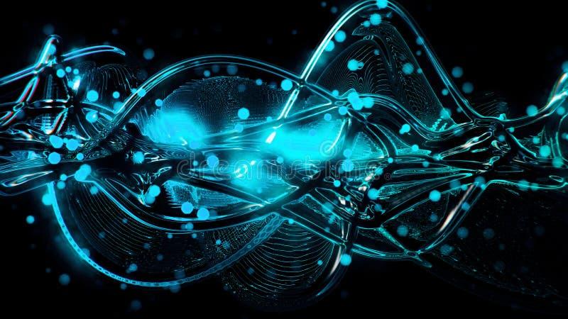 Αφηρημένοι φουτουριστικοί φωτεινοί μπλε και κυανοί λειωμένοι κύματα και κυματισμός γυαλιού απεικόνιση αποθεμάτων