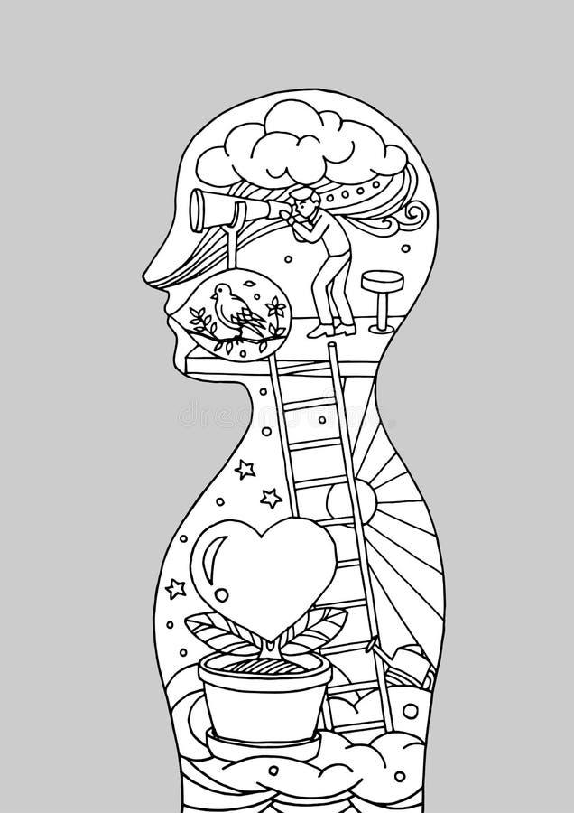 Αφηρημένος άνθρωπος ψυχής μυαλού σωμάτων, κόσμος, κόσμος μέσα στο μυαλό σας, διανυσματικό χέρι που σύρεται απεικόνιση αποθεμάτων