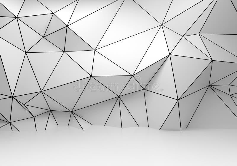 Αφηρημένος άσπρος τρισδιάστατος εσωτερικός, polygonal τοίχος wireframe απεικόνιση αποθεμάτων