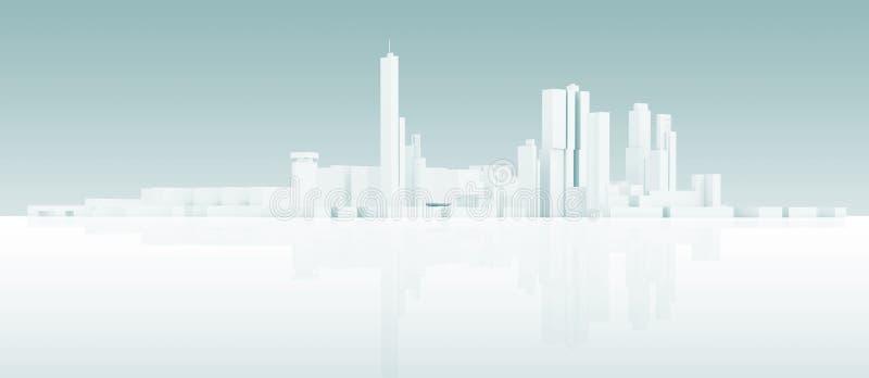 Αφηρημένος άσπρος τρισδιάστατος σύγχρονος ορίζοντας εικονικής παράστασης πόλης απεικόνιση αποθεμάτων