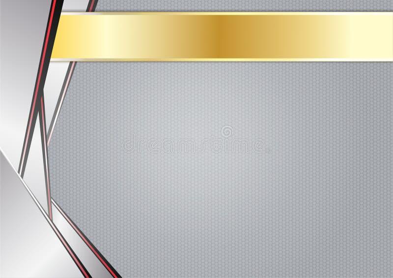 Αφηρημένος αιχμηρός μεταλλικός, αργίλιο με το χρυσό πλαίσιο διανυσματική απεικόνιση