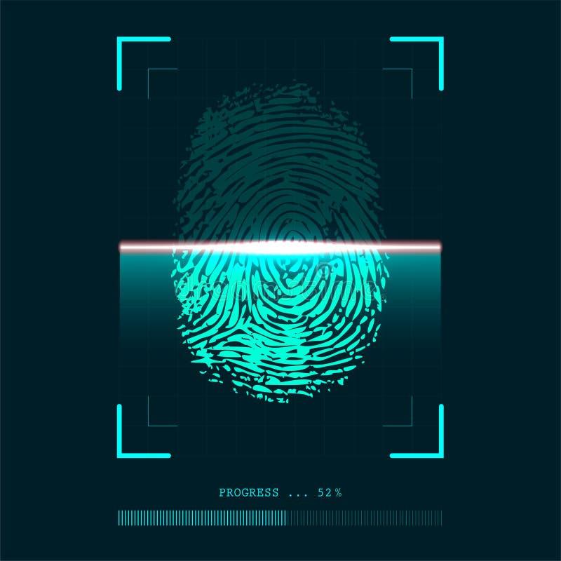 Αφηρημένος ανιχνευτής δακτυλικών αποτυπωμάτων υπό εξέλιξη - έννοια επαλήθευσης ταυτότητας απεικόνιση αποθεμάτων