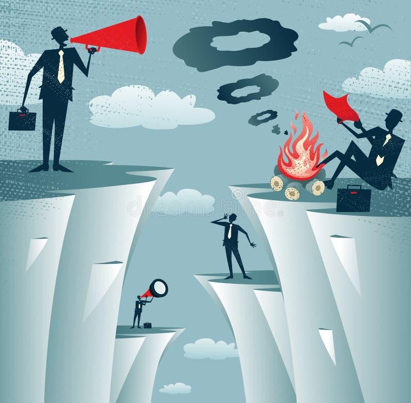 Αφηρημένος απότομος βράχος τοπ Miscommunication επιχειρηματιών ελεύθερη απεικόνιση δικαιώματος