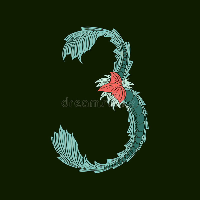 Αφηρημένος αριθμός 3 εικονίδιο λογότυπων στο μπλε τροπικό ύφος διανυσματική απεικόνιση